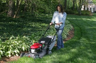 Honda HRX Lawnmower, Female Action.